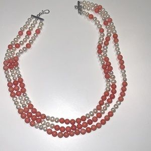 Natural fresh water pearls and corals necklace